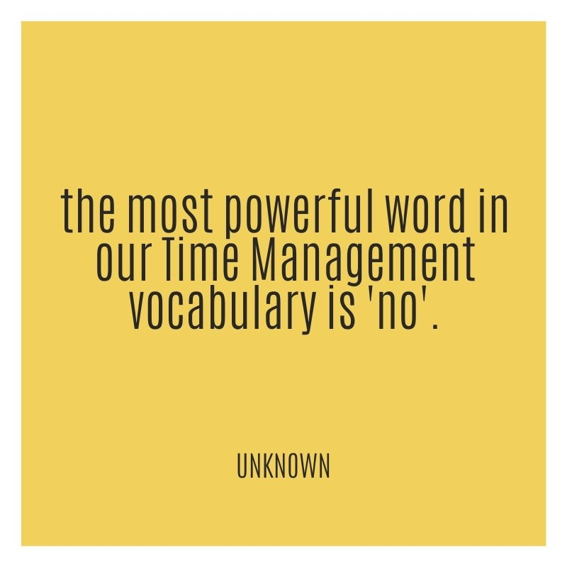 Quote - the most powerful word in the time management vocabulary is NO