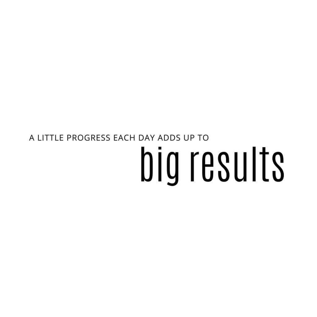Quote - a little progress each day adds up to big results