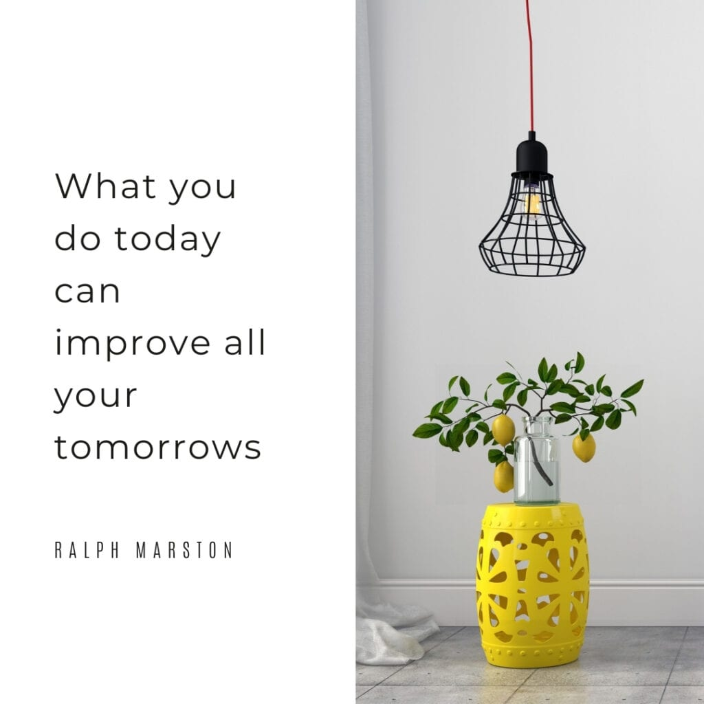 Quote - what you do today can improve all your tomorrows
