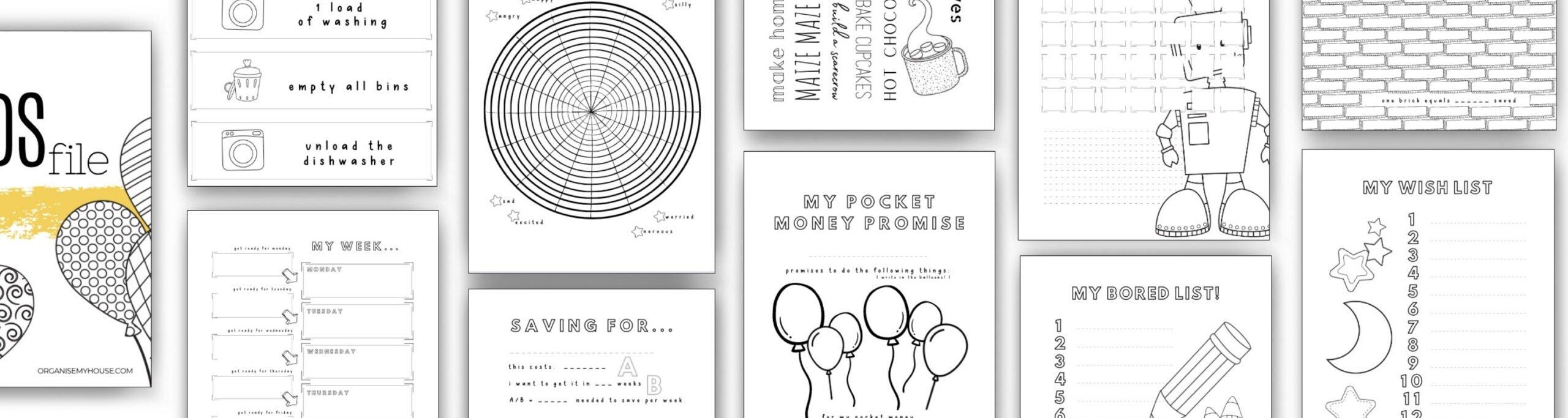 Kids file - printable pages 1