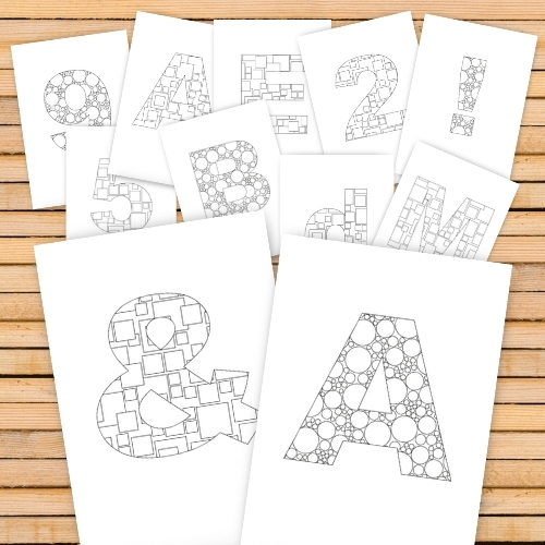 Alphabet Colouring In Pages - letters and numbers